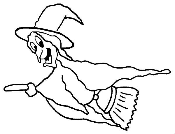 Witch, : Witch Flying Fast Coloring Pages