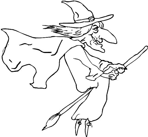 Witch, : Witch Flying with Magic Broom Coloring Pages