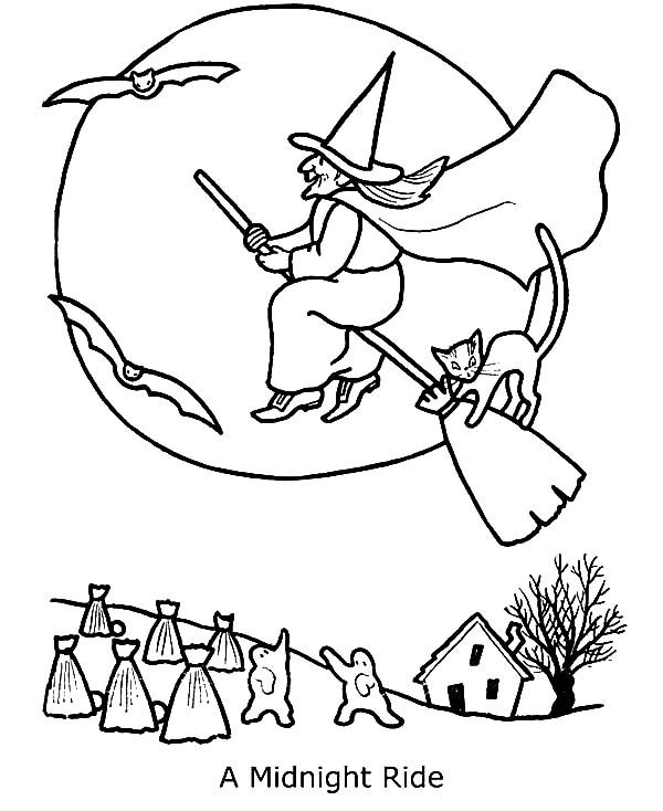 Witch, : Witch Midnight Ride Coloring Pages