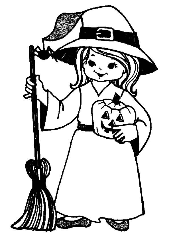 Witch, : Witch Need Black Spider for Her Potion Coloring Pages
