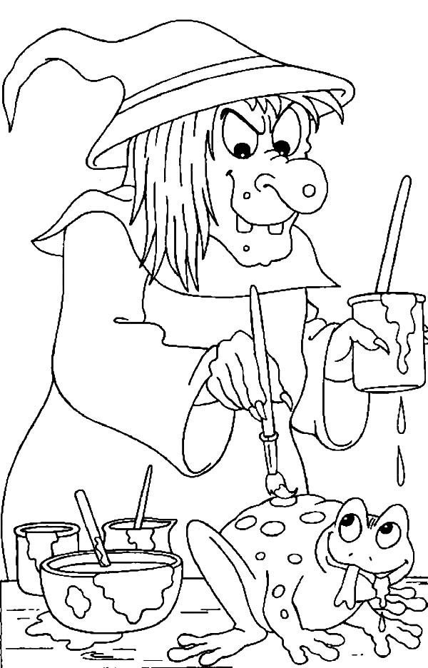 Witch, : Witch Painting Frog Back Coloring Pages
