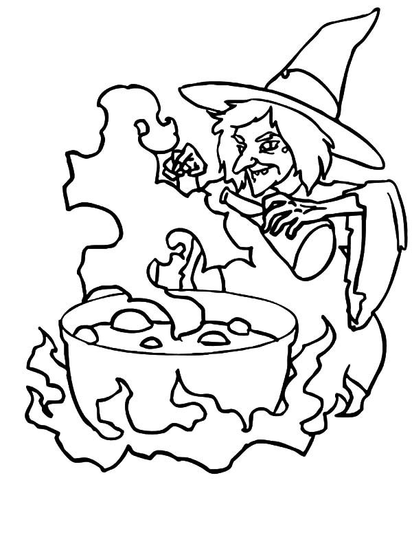 Witch, : Witch Preparing a Malefic Potion Coloring Pages