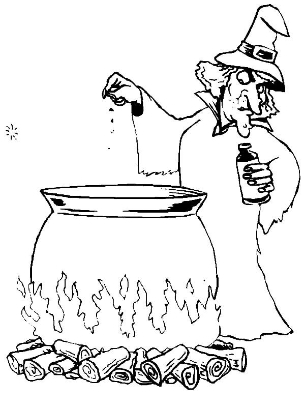 Witch, : Witch Put a Little Salt Coloring Pages