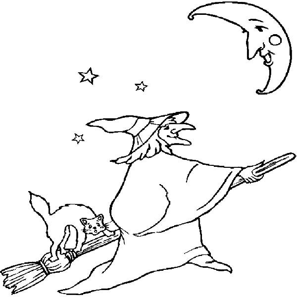 Witch, : Witch Talking to the Moon Coloring Pages