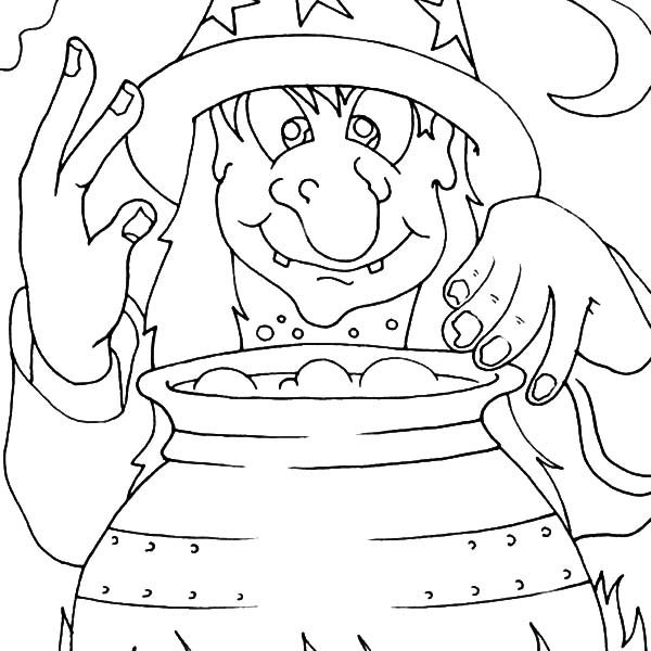 Witch, : Witch Watching Her Pot Coloring Pages