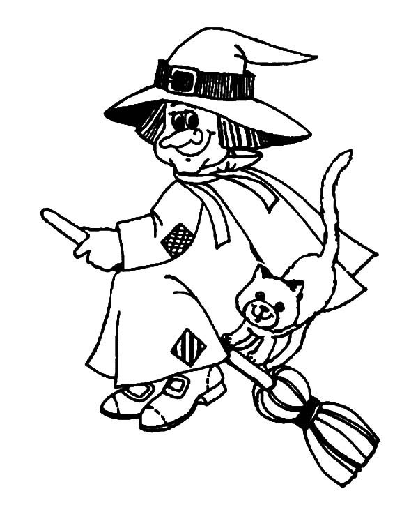 Witch, : Witch and Evil Cat Coloring Pages