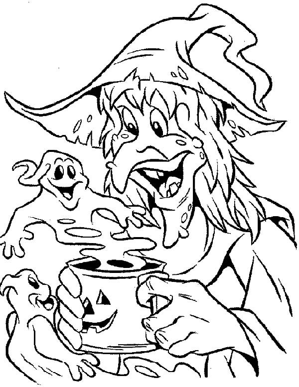 Witch, : Witch be Friend with Ghost Coloring Pages