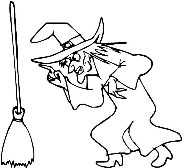 Witch, : Witch is Angry to Her Broom Coloring Pages