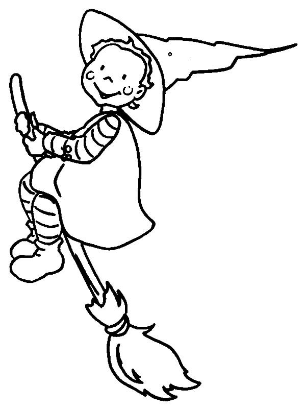 Witch, : Witch is Take Off Coloring Pages