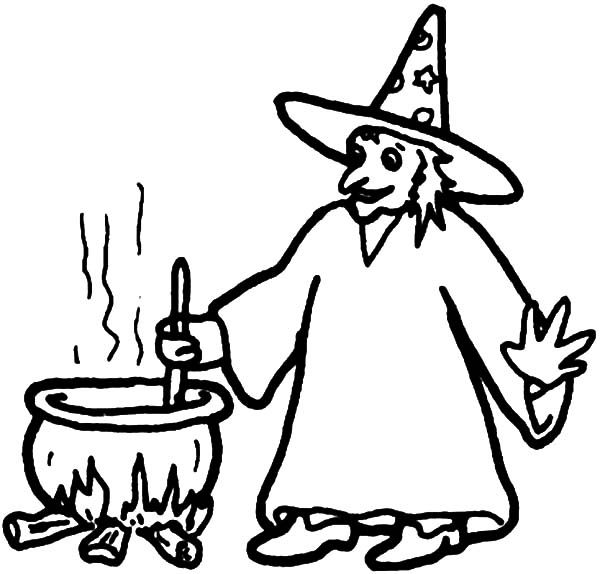 Witch, : Witch making Poison Coloring Pages