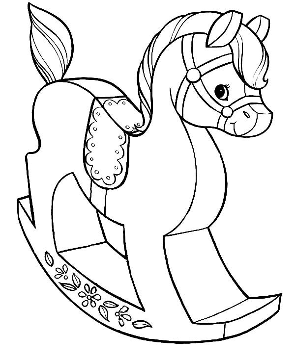 Toys, : Wooden Horse Toys Coloring Pages