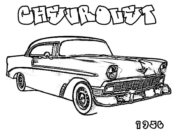 Chevy Cars, : 1956 Antique Chevy Cars Coloring Pages