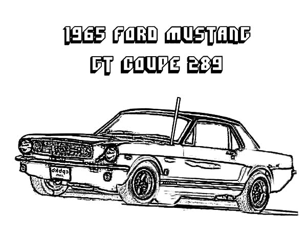 Car Mustang, : 1965 Ford Mustang GT Coupe 289 Coloring Pages