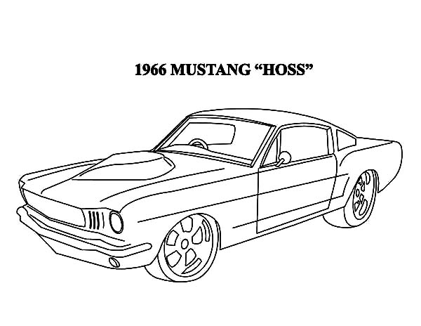 Car Mustang, : 1966 Mustang Hoss Car Coloring Pages