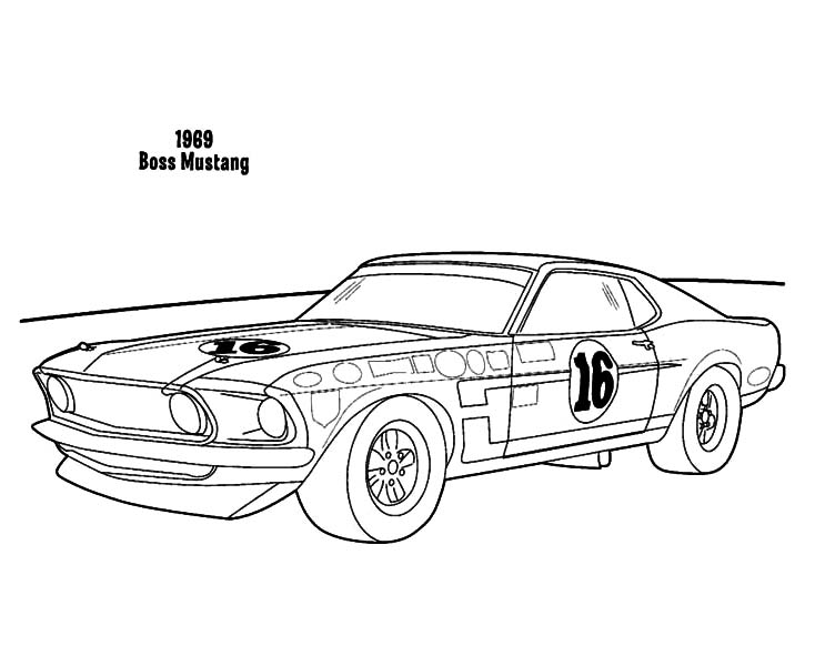 Car Mustang, : 1969 Boss Mustang Car Coloring Pages
