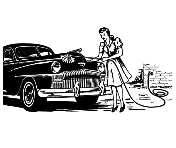 Car Wash, : A House Maid Wash Car Coloring