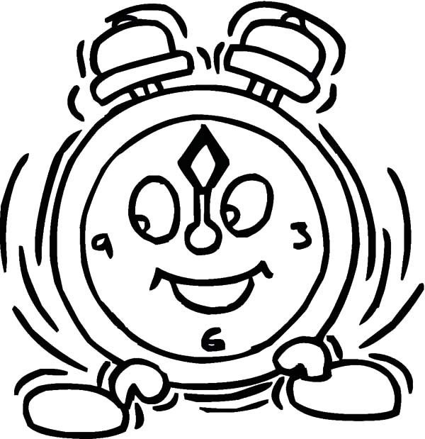 Clock, : Alarm Clock Shaking Coloring Pages