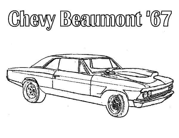Chevy Cars, : American Muscle Car  Beaumont 67 Chevy Cars Coloring Pages