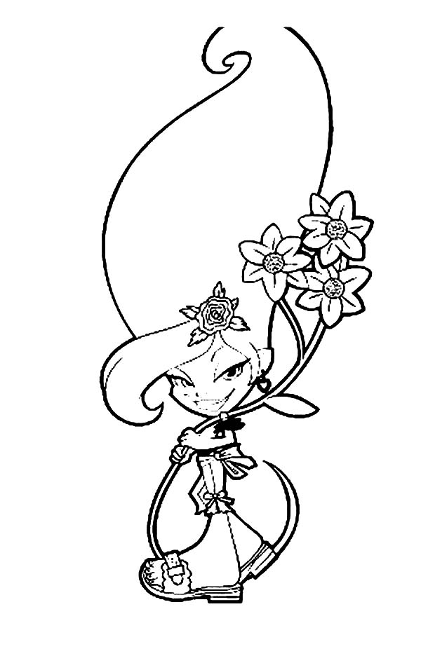 Trollz, : Amethyst van der Troll Holding Beautiful Flower Trollz Coloring Pages