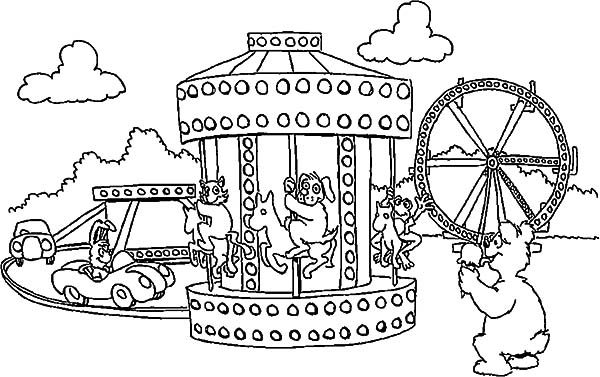 Carnival, : Amusepark Carnival Coloring Pages