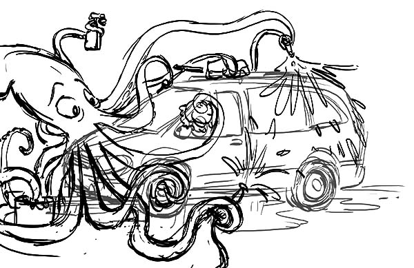 Car Wash, : An Octopus Working at Car Wash Coloring Pages