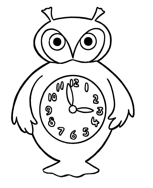 Clock, : An Owl Clock Coloring Pages
