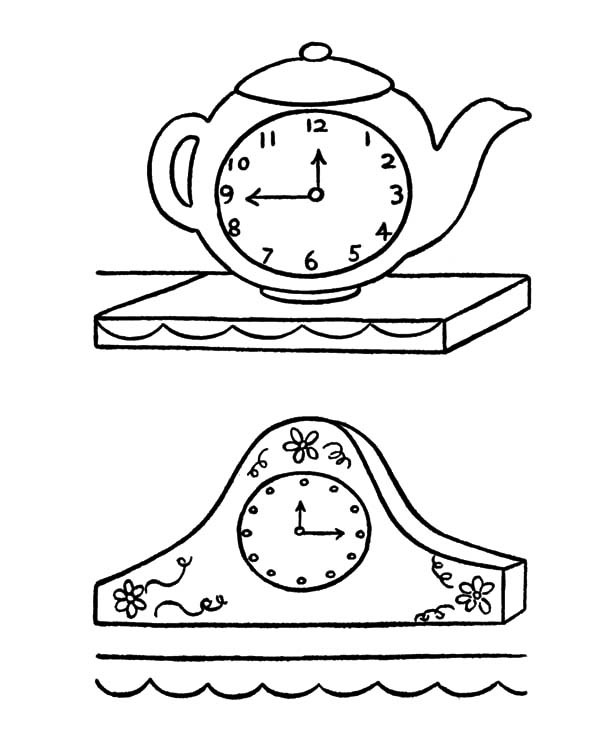 Clock, : Antique Clock Coloring Pages