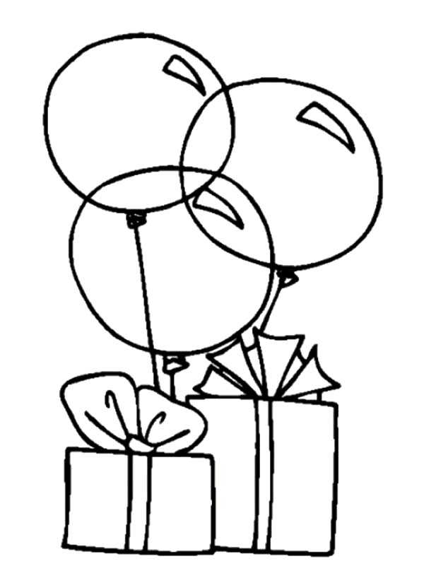 Birthday Balloons, : Balloons Tied to Birthday Present Coloring Pages