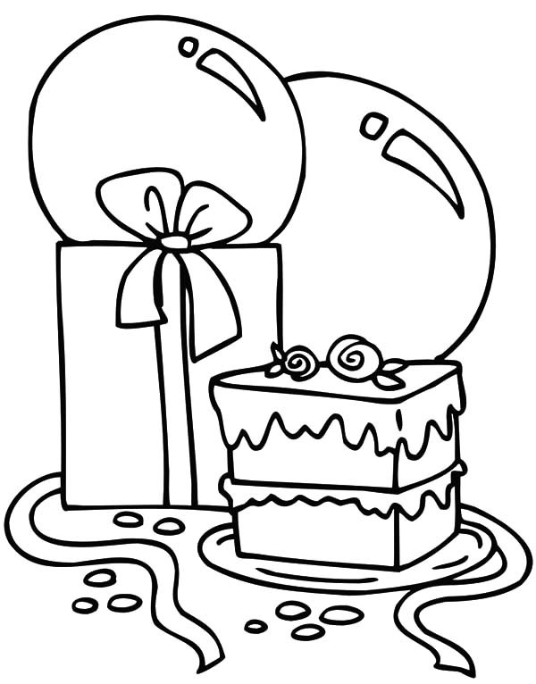 Birthday Balloons, : Balloons and Delicious Slice of Cake Coloring Pages