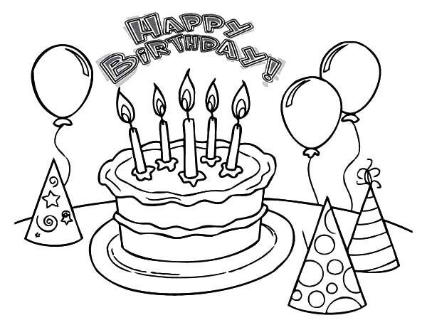 Balloons and Pointed Hat with Birthday Cake Coloring Pages | Best ...