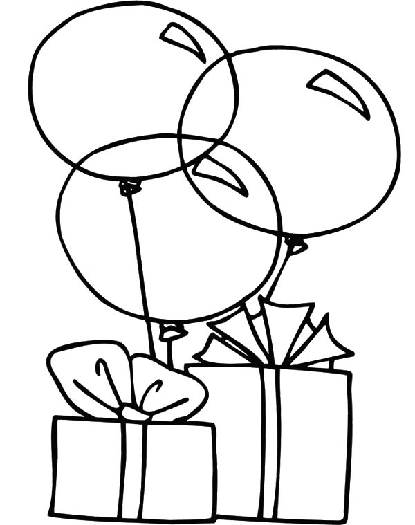 Birthday Balloons, : Balloons and Present Coloring Pages