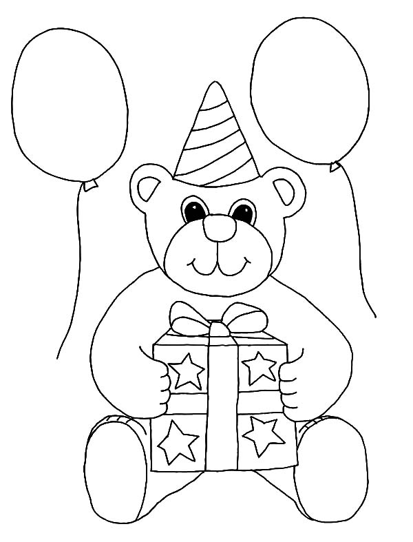 Birthday Balloons, : Balloons and Teddy Bear Coloring Pages