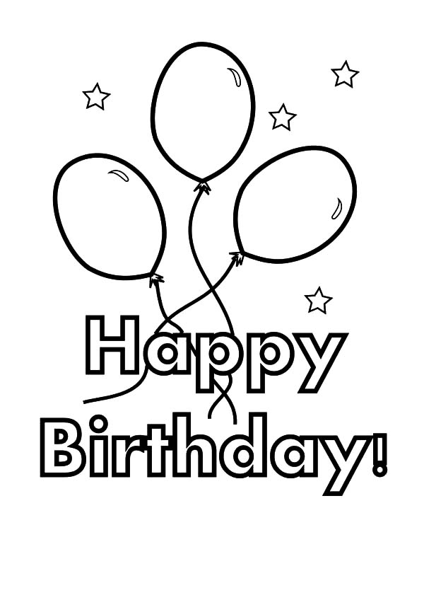 Birthday Balloons, : Balloons for Birthday Party Coloring Pages