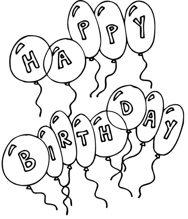 Birthday Balloons, : Balloons with Letter Coloring Pages