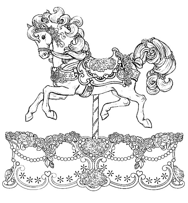 1000 images about color carousel animals on pinterest for Carousel horse coloring page