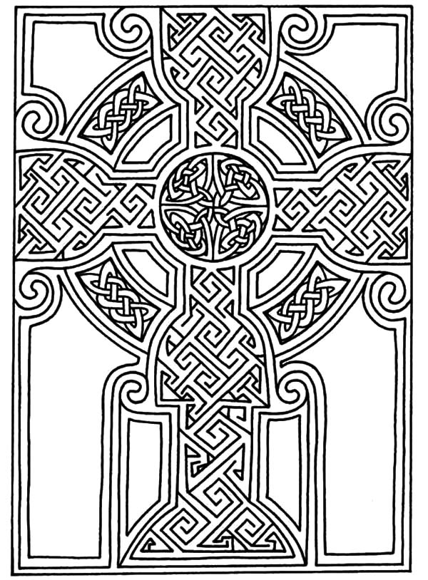 Celtic Cross, : Beautiful Celtic Cross Design Coloring Pages