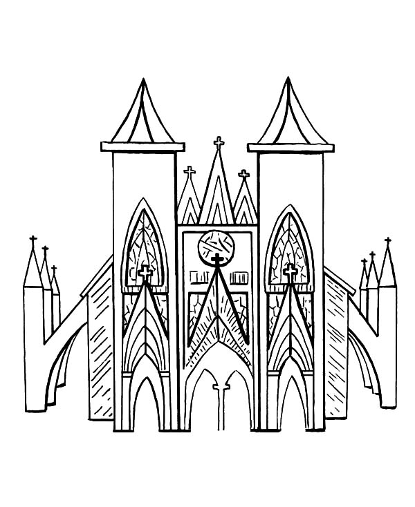 Church, : Beautiful Church Coloring Pages