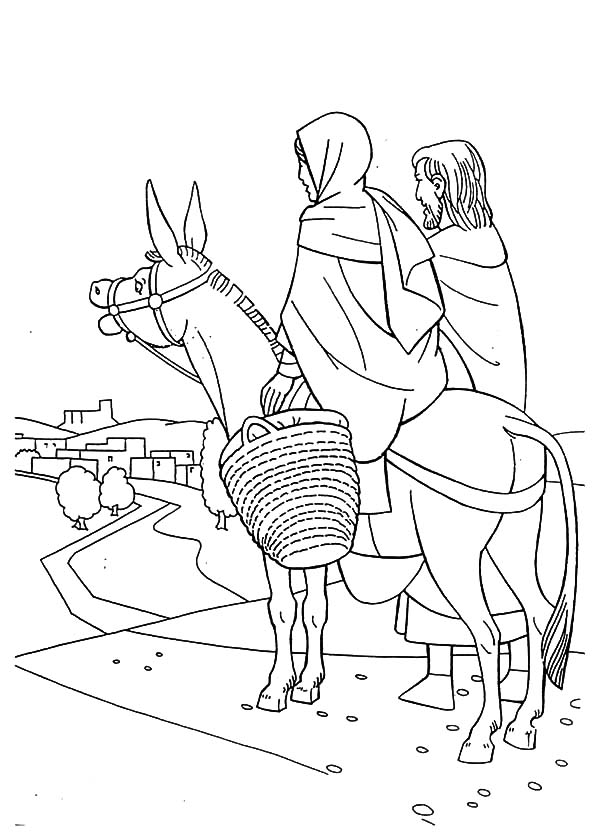 Mary And The Donkey, : Bible Story Mary and the Donkey Coloring Pages