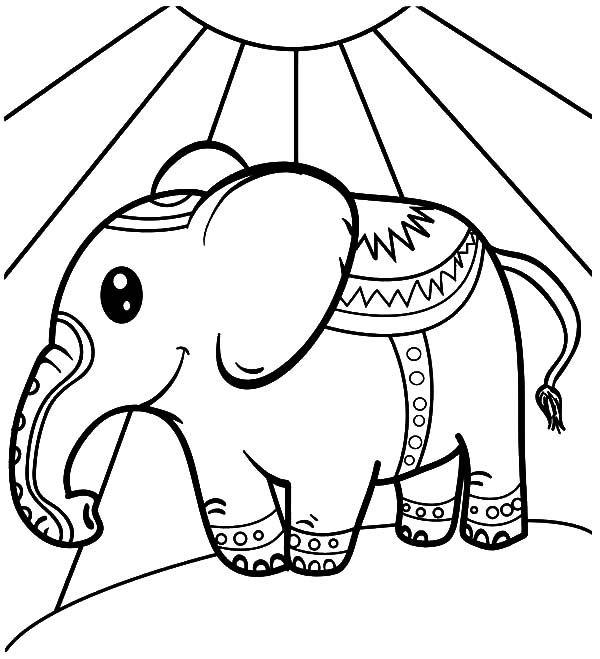 Circus Elephant, : Big Eyed Circus Elephant Coloring Pages