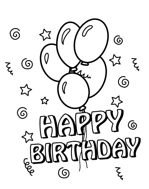 Birthday Balloons, : Birthday Balloons Floating Coloring Pages
