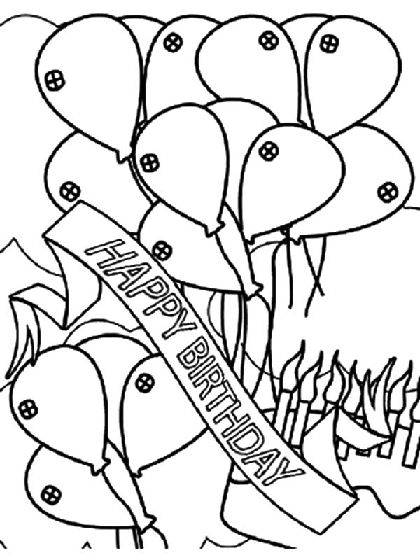 Birthday Balloons, : Birthday Banner and Balloons Coloring Pages