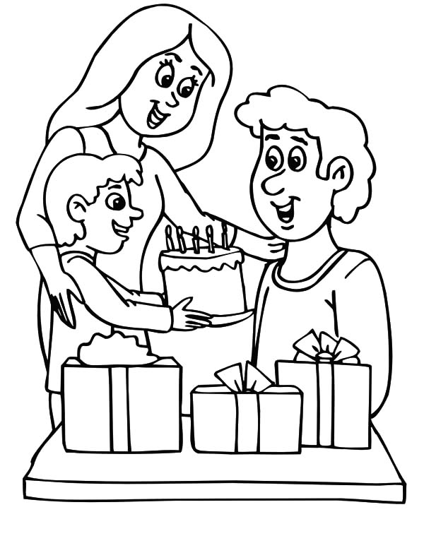 Birthday Boy, : Birthday Boy Accept Birthday Cake from Father Coloring Pages