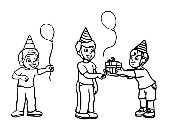 Birthday Boy, : Birthday Boy Accept Gift from Friend Coloring Pages