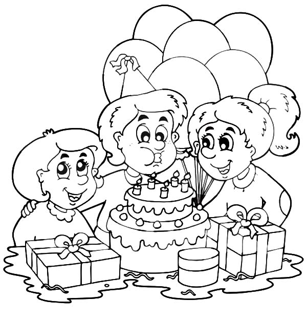 Birthday Boy, : Birthday Boy Blowing Out His Birthday Candles Coloring Pages