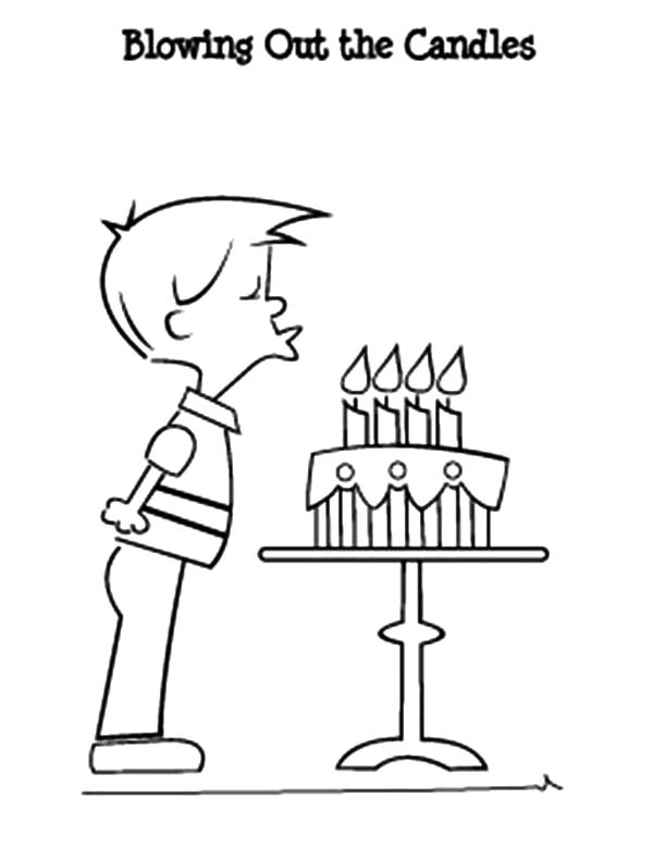 Birthday Boy, : Birthday Boy Blowing Out the Candles Coloring Pages