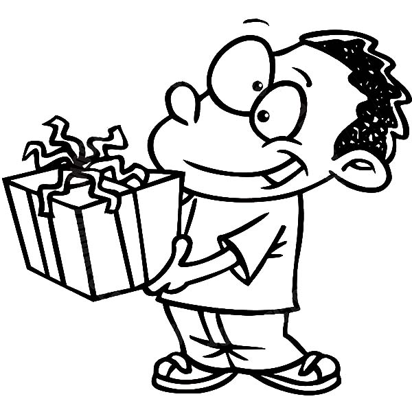 Birthday Boy, : Birthday Boy Bring Gift from Friend Coloring Pages