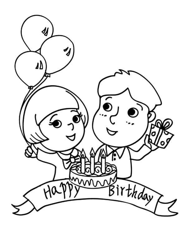 Birthday Boy, : Birthday Boy Couple Coloring Pages