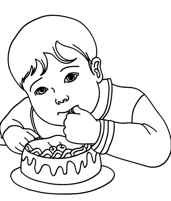 Birthday Boy, : Birthday Boy Eat His Birthday Cake Coloring Pages