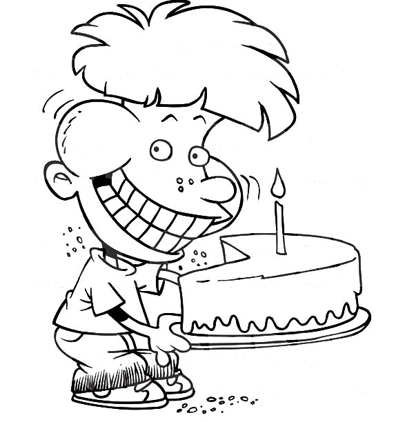 Birthday Boy, : Birthday Boy Eat His Cake Quietly Coloring Pages