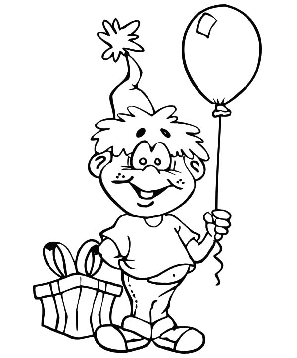 Birthday Boy, : Birthday Boy Holding Balloon Coloring Pages